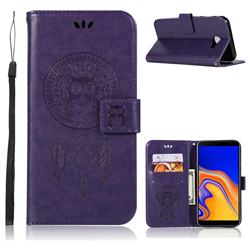Intricate Embossing Owl Campanula Leather Wallet Case for Samsung Galaxy J4 Plus(6.0 inch) - Purple