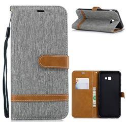 Jeans Cowboy Denim Leather Wallet Case for Samsung Galaxy J4 Plus(6.0 inch) - Gray