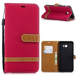 Jeans Cowboy Denim Leather Wallet Case for Samsung Galaxy J4 Plus(6.0 inch) - Red