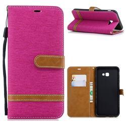 Jeans Cowboy Denim Leather Wallet Case for Samsung Galaxy J4 Plus(6.0 inch) - Rose