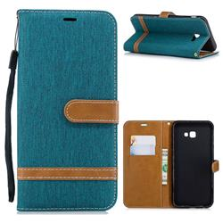 Jeans Cowboy Denim Leather Wallet Case for Samsung Galaxy J4 Plus(6.0 inch) - Green
