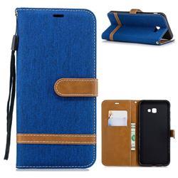 Jeans Cowboy Denim Leather Wallet Case for Samsung Galaxy J4 Plus(6.0 inch) - Sapphire