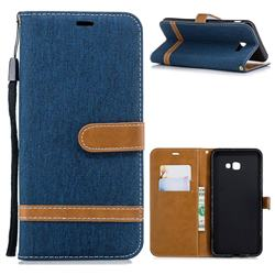 Jeans Cowboy Denim Leather Wallet Case for Samsung Galaxy J4 Plus(6.0 inch) - Dark Blue