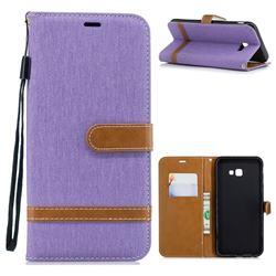 Jeans Cowboy Denim Leather Wallet Case for Samsung Galaxy J4 Plus(6.0 inch) - Purple