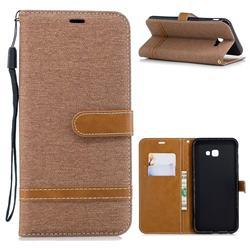 Jeans Cowboy Denim Leather Wallet Case for Samsung Galaxy J4 Plus(6.0 inch) - Brown