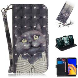 Cat Embrace 3D Painted Leather Wallet Phone Case for Samsung Galaxy J4 Plus(6.0 inch)
