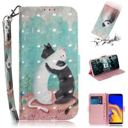 Black and White Cat 3D Painted Leather Wallet Phone Case for Samsung Galaxy J4 Plus(6.0 inch)