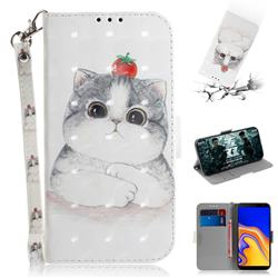 Cute Tomato Cat 3D Painted Leather Wallet Phone Case for Samsung Galaxy J4 Plus(6.0 inch)