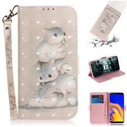 Three Squirrels 3D Painted Leather Wallet Phone Case for Samsung Galaxy J4 Plus(6.0 inch)