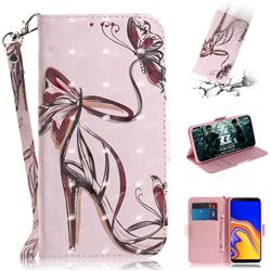 Butterfly High Heels 3D Painted Leather Wallet Phone Case for Samsung Galaxy J4 Plus(6.0 inch)