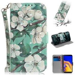 Watercolor Flower 3D Painted Leather Wallet Phone Case for Samsung Galaxy J4 Plus(6.0 inch)