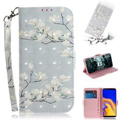 Magnolia Flower 3D Painted Leather Wallet Phone Case for Samsung Galaxy J4 Plus(6.0 inch)