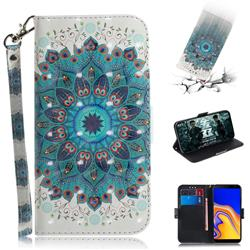 Peacock Mandala 3D Painted Leather Wallet Phone Case for Samsung Galaxy J4 Plus(6.0 inch)