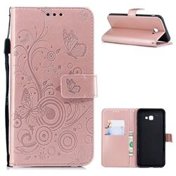 Intricate Embossing Butterfly Circle Leather Wallet Case for Samsung Galaxy J4 Plus(6.0 inch) - Rose Gold