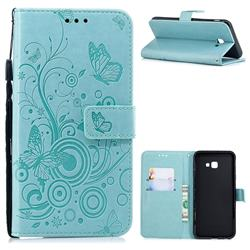 Intricate Embossing Butterfly Circle Leather Wallet Case for Samsung Galaxy J4 Plus(6.0 inch) - Cyan