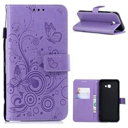 Intricate Embossing Butterfly Circle Leather Wallet Case for Samsung Galaxy J4 Plus(6.0 inch) - Purple