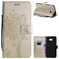 Embossing Butterfly Tree Leather Wallet Case for Samsung Galaxy J4 Plus(6.0 inch) - Champagne