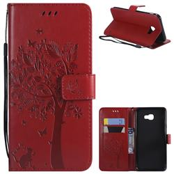 Embossing Butterfly Tree Leather Wallet Case for Samsung Galaxy J4 Plus(6.0 inch) - Red