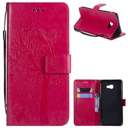 Embossing Butterfly Tree Leather Wallet Case for Samsung Galaxy J4 Plus(6.0 inch) - Rose