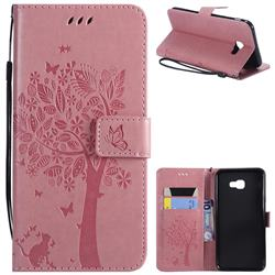 Embossing Butterfly Tree Leather Wallet Case for Samsung Galaxy J4 Plus(6.0 inch) - Pink