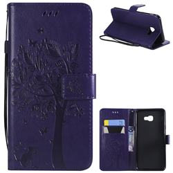 Embossing Butterfly Tree Leather Wallet Case for Samsung Galaxy J4 Plus(6.0 inch) - Purple