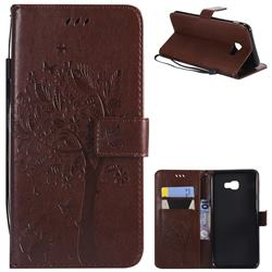 Embossing Butterfly Tree Leather Wallet Case for Samsung Galaxy J4 Plus(6.0 inch) - Coffee