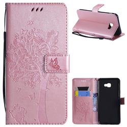 Embossing Butterfly Tree Leather Wallet Case for Samsung Galaxy J4 Plus(6.0 inch) - Rose Pink