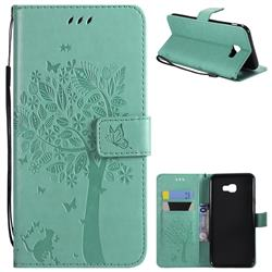 Embossing Butterfly Tree Leather Wallet Case for Samsung Galaxy J4 Plus(6.0 inch) - Cyan