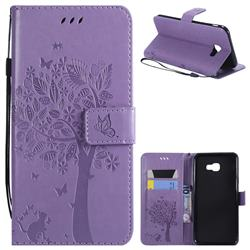 Embossing Butterfly Tree Leather Wallet Case for Samsung Galaxy J4 Plus(6.0 inch) - Violet