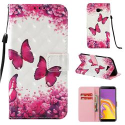 Rose Butterfly 3D Painted Leather Wallet Case for Samsung Galaxy J4 Plus(6.0 inch)