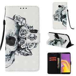 Skull Flower 3D Painted Leather Wallet Case for Samsung Galaxy J4 Plus(6.0 inch)