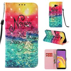 Colorful Dream Catcher 3D Painted Leather Wallet Case for Samsung Galaxy J4 Plus(6.0 inch)