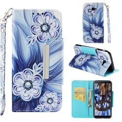Button Flower Big Metal Buckle PU Leather Wallet Phone Case for Samsung Galaxy J4 Plus(6.0 inch)