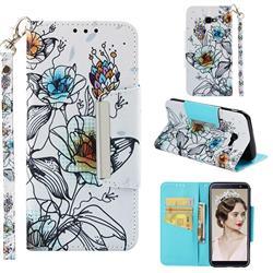Fotus Flower Big Metal Buckle PU Leather Wallet Phone Case for Samsung Galaxy J4 Plus(6.0 inch)