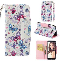 Colored Butterfly Big Metal Buckle PU Leather Wallet Phone Case for Samsung Galaxy J4 Plus(6.0 inch)