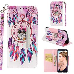 Owl Wind Chimes Big Metal Buckle PU Leather Wallet Phone Case for Samsung Galaxy J4 Plus(6.0 inch)