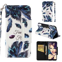 Peacock Feather Big Metal Buckle PU Leather Wallet Phone Case for Samsung Galaxy J4 Plus(6.0 inch)
