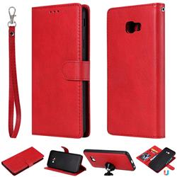 Retro Greek Detachable Magnetic PU Leather Wallet Phone Case for Samsung Galaxy J4 Plus(6.0 inch) - Red