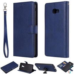 Retro Greek Detachable Magnetic PU Leather Wallet Phone Case for Samsung Galaxy J4 Plus(6.0 inch) - Blue