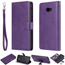 Retro Greek Detachable Magnetic PU Leather Wallet Phone Case for Samsung Galaxy J4 Plus(6.0 inch) - Purple