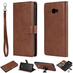 Retro Greek Detachable Magnetic PU Leather Wallet Phone Case for Samsung Galaxy J4 Plus(6.0 inch) - Brown