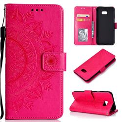 Intricate Embossing Datura Leather Wallet Case for Samsung Galaxy J4 Plus(6.0 inch) - Rose Red