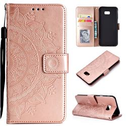 Intricate Embossing Datura Leather Wallet Case for Samsung Galaxy J4 Plus(6.0 inch) - Rose Gold