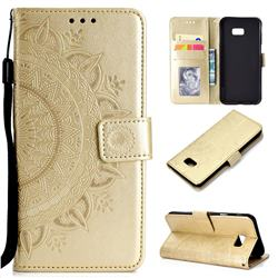 Intricate Embossing Datura Leather Wallet Case for Samsung Galaxy J4 Plus(6.0 inch) - Golden