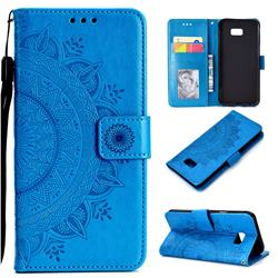 Intricate Embossing Datura Leather Wallet Case for Samsung Galaxy J4 Plus(6.0 inch) - Blue