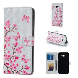 Butterfly Sakura Flower 3D Painted Leather Phone Wallet Case for Samsung Galaxy J4 Plus(6.0 inch)