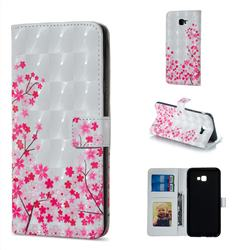 Cherry Blossom 3D Painted Leather Phone Wallet Case for Samsung Galaxy J4 Plus(6.0 inch)