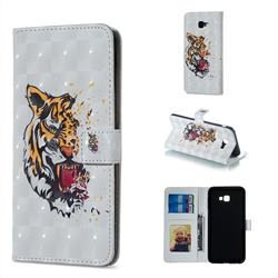 Toothed Tiger 3D Painted Leather Phone Wallet Case for Samsung Galaxy J4 Plus(6.0 inch)