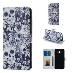 Skull Flower 3D Painted Leather Phone Wallet Case for Samsung Galaxy J4 Plus(6.0 inch)