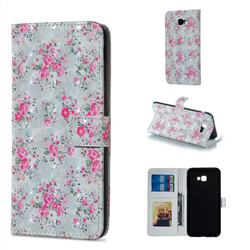 Roses Flower 3D Painted Leather Phone Wallet Case for Samsung Galaxy J4 Plus(6.0 inch)
